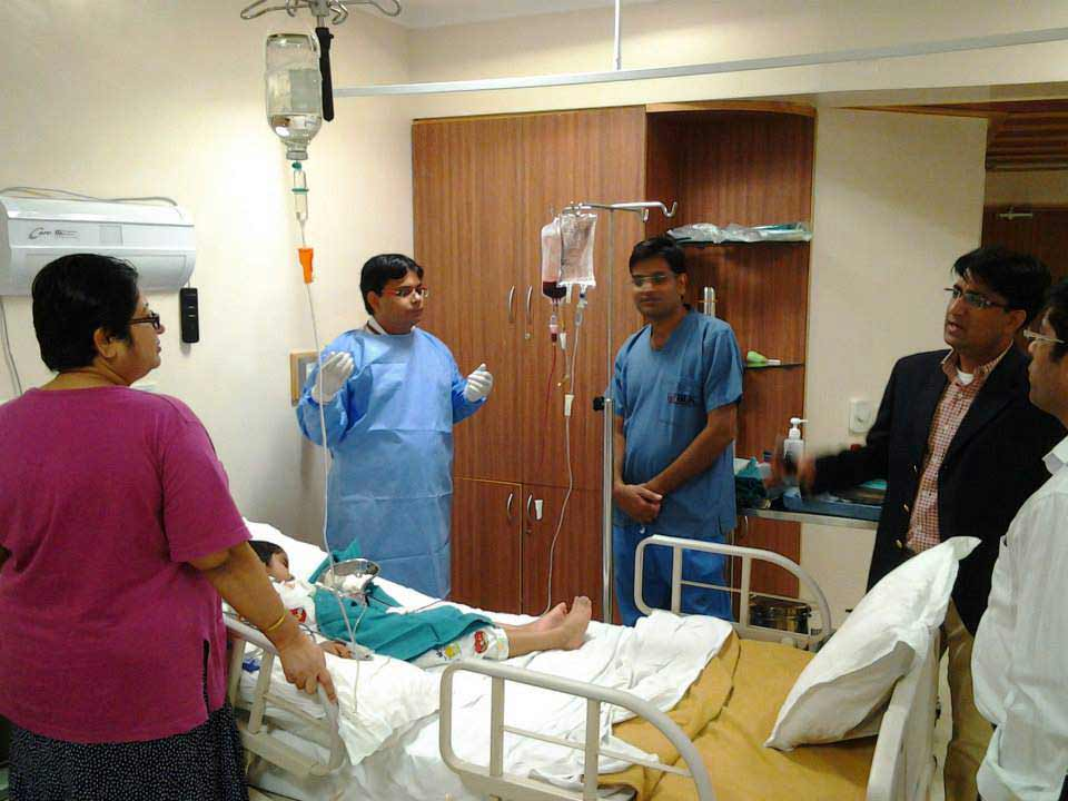Dr. Dharma Choudhary and his team during the Bone Marrow Transplant