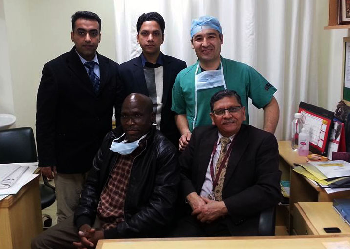 Dr. H S Bhatyal with patient and Dr. Bahtiyor from Uzbekistan