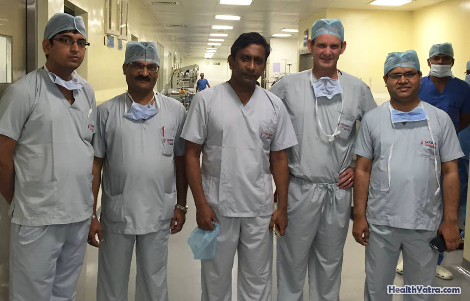Dr. Christopher Taylor Barry with world famous liver transplant surgeon Dr. Prof. Mohamed Rela at Global Health City Chennai along with the Mahatma Gandhi Hospital Liver Transplant Team